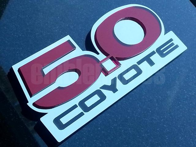 mustang 5.0 w/ coyote acrylic and stainless steel emblem badge set